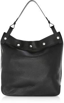 Rag & Bone Black Pebbled Leather Compass Snap Hobo Bag