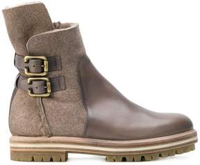 AGL buckled two tone boots
