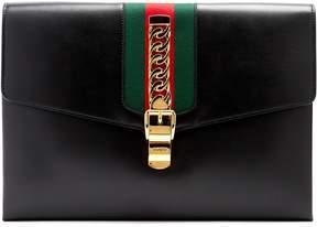 Gucci Sylvie leather shoulder clutch - BLACK - STYLE