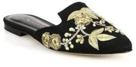 Oscar de la Renta Wanda Embroidered Satin Flat Mules