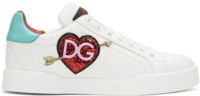 Dolce & Gabbana White Heart Sneakers