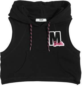 MSGM Sleeveless Cropped Cotton Sweatshirt