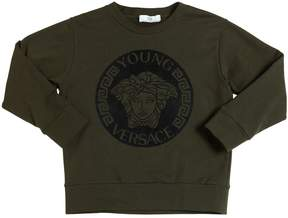 Versace Logo Flocked Cotton Sweatshirt