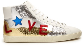 SAINT LAURENT Court Classic glitter and leather trainers