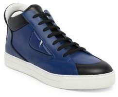 Fendi Bugs Mid-Top Leather Sneakers