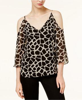 Bar III Cold-Shoulder Giraffe-Print Top, Created for Macy's