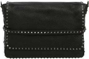 Valentino Rockstud Textured Leather Messenger Bag