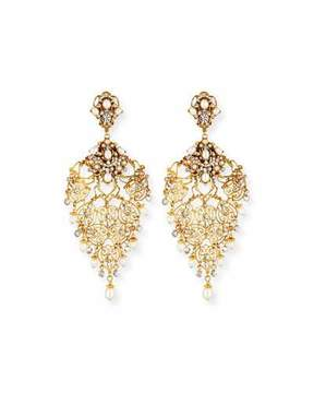 Jose & Maria Barrera Golden Crystal Chandelier Clip-On Earrings