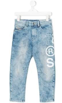 Diesel printed distressed jeans