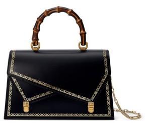 Gucci Linea P Border Leather Double Flap Top Handle Satchel - Black - BLACK - STYLE