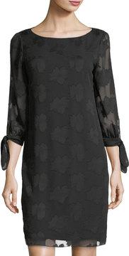 Donna Ricco Tie-Sleeve Jacquard Shift Dress