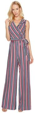 Donna Morgan Metallic Stripe Wrap Jumpsuit Women's Jumpsuit & Rompers One Piece