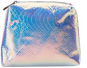 Charlotte Russe Holographic Faux Snakeskin Zip Pouch