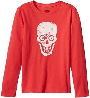 Life is Good Bike Skull Long Sleeve Crusher Tee Boy's T Shirt