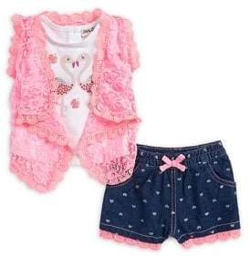Little Lass Little Girl's Two-Piece Lace Tank Top and Printed Shorts Set