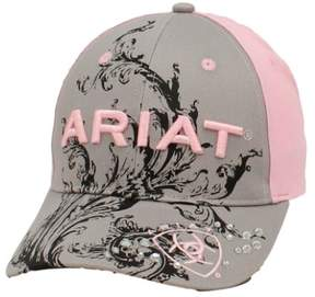 Ariat Hat Womens Baseball Cap Scroll Logo One Size Gray Pink 1502606