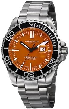 Akribos XXIV Matte Orange Dial Stainless Steel Men's Watch