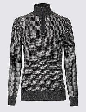 Marks and Spencer Cotton Blend Textured Half Zipped Jumper