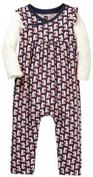 Tea Collection Scottie Dog Wrap Neck Romper (Baby Girls)