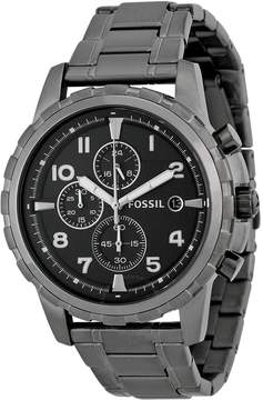 Fossil Dean Chronograph Black Dial Smoke Grey Ion-plated Men's Watch
