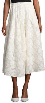 Co Floral Fil Coupé A-Line Tea-Length Skirt, Ivory