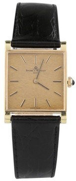 Baume & Mercier 18K Yellow Gold Hand-Winding With Black Leather Band Vintage Mens Watch