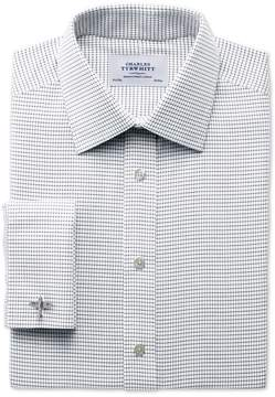 Charles Tyrwhitt Classic Fit Non-Iron White and Black Cotton Dress Shirt French Cuff Size 15/35