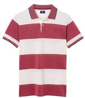Gant Men's White/red Cotton Polo Shirt.