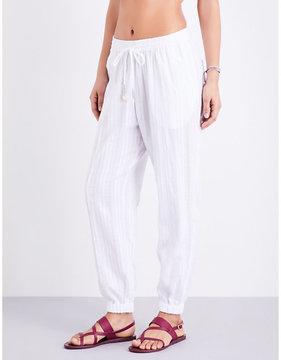 Seafolly Tapered washed dobby stripe cotton trousers