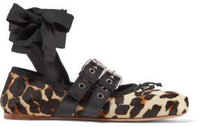 Miu Miu Lace-up Leather-trimmed Leopard-print Calf Hair Ballet Flats - Leopard print