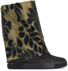 Casadei perforated denim boots