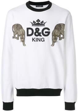 Dolce & Gabbana King and leopard patch sweatshirt