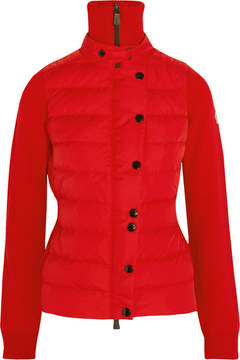 Moncler Quilted Shell Down And Wool-blend Jacket - Claret