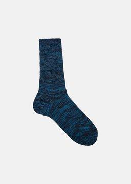 Blue Blue Japan Indigo Cotton Mix Color Socks Teal Size: Small