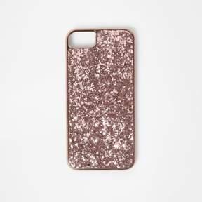 River Island Womens Rose gold tone glitter phone case