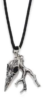 King Baby Studio Raven Skull & Branch Pendant Leather Cord Necklace