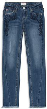 Hudson Girls' Angled-Seam Jeans with Floral Embroidery - Big Kid