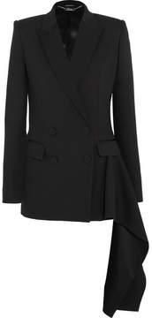 Alexander McQueen Draped Satin-trimmed Wool-crepe Blazer - Black