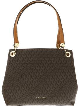Michael Kors Raven Large Leather Shoulder Tote - BROWN - STYLE