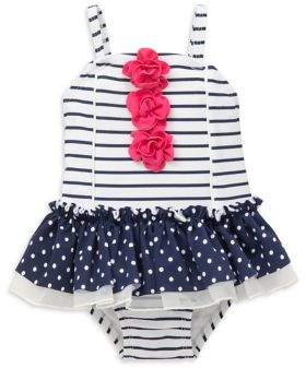 Little Me Baby Girl's Striped and Polka-Dot One-Piece Swimsuit