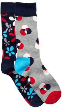 Happy Socks Combed Cotton Crew Socks - Pack of 2