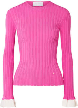 Esteban Cortazar Two-tone Ribbed Knit Top - Fuchsia