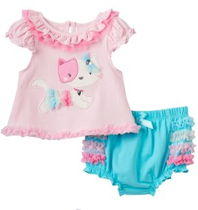 Nannette Baby Girl Embellished Kitty Top & Ruffled Bloomers Set