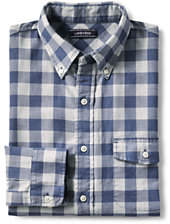 Lands' End Men's Tall Tailored Fit Forewind Twill Shirt-Blue Indigo Plaid