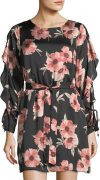 Collective Concepts Long-Sleeve Floral-Print Satin Dress