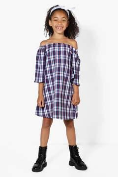 boohoo Girls Bardot Check Dress