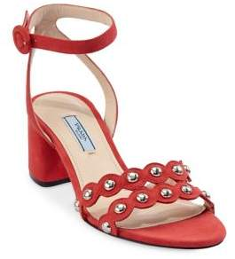 Prada Studded Suede Sandals