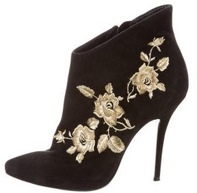 Balmain Suede Floral-Embroidered Booties