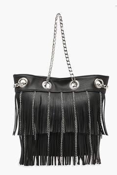 boohoo Fringe & Chain Duffle Day Bag