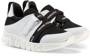 Versace Black and White Trainers with Logo Sole